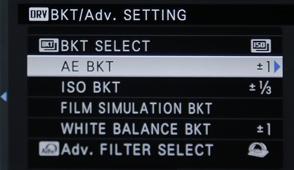 Fuji X-T1 AEB Settings Menu
