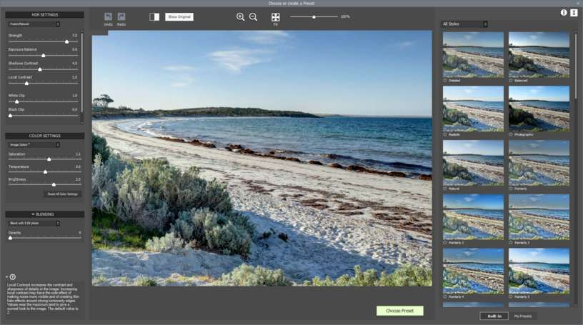 HDR Batch plugin preview preset window with thumbnails and adjustments