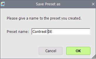 Saving the selected preset in the HDR Batch plugin