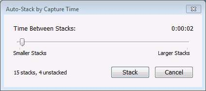 Lightroom Auto-Stack by Capture Time Dialog