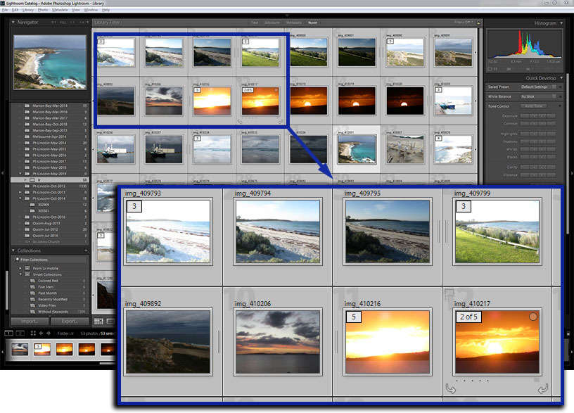 Lightroom catalog of bracketed sets which have been grouped into stacks using Auto-Stack by Capture Time