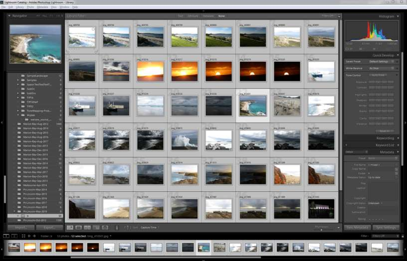 Lightroom catalog of bracketed sets, not grouped into stacks