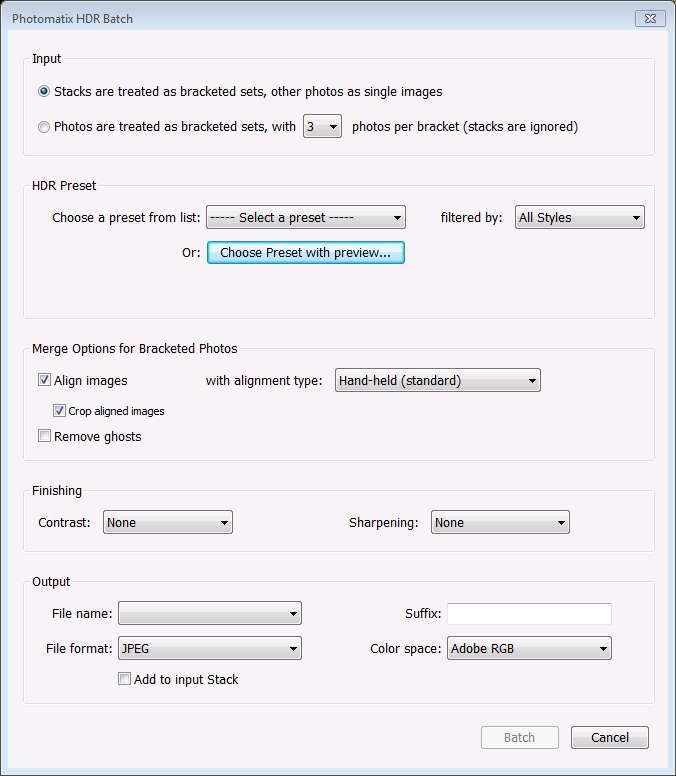 HDR Batch plugin main window