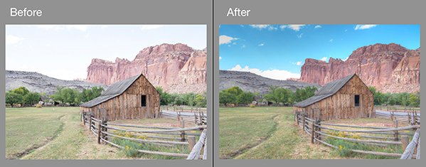 Before and After editing in Photomatix Pro using fake bracketed photos