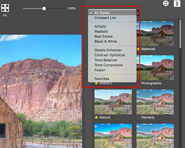 Photomatix Pro's preset list with bracketed exposures