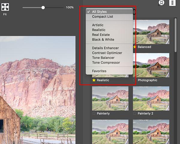 Photomatix Pro's preset list with a single exposure