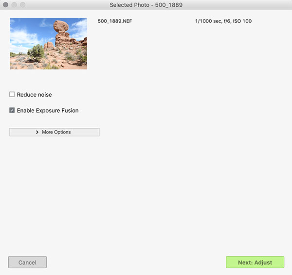 """Photomatix Pro's Import screen for a single RAW with """"Enable Exposure Fusion"""" selected"""